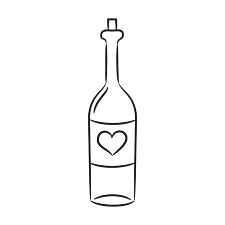 Cartoon wine bottle on the white background for your design. Vector illustration.