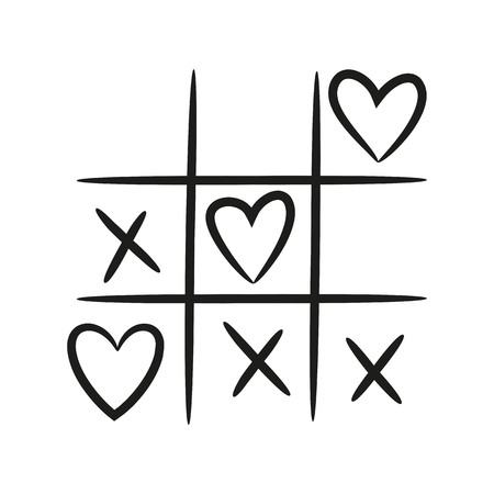 Tic tac toe with hearts on the white background for your design. Vector illustration.