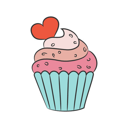 Cupcake with hearts on the white background. Vector illustration.