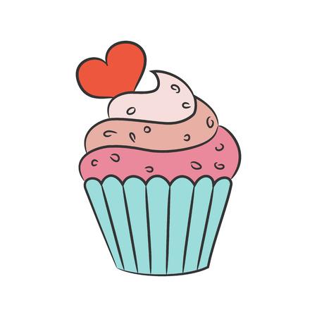 Cupcake met harten op de witte achtergrond. Vector illustratie.