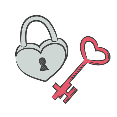 Lock icon with key on the white background for your design. Vector illustration.