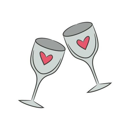 Two wineglasses for Valentines Day. Vector Illustration. Çizim