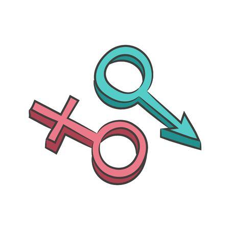 sex symbol: Sex symbol, male and female. Design for Valentines day. Vector illustration.
