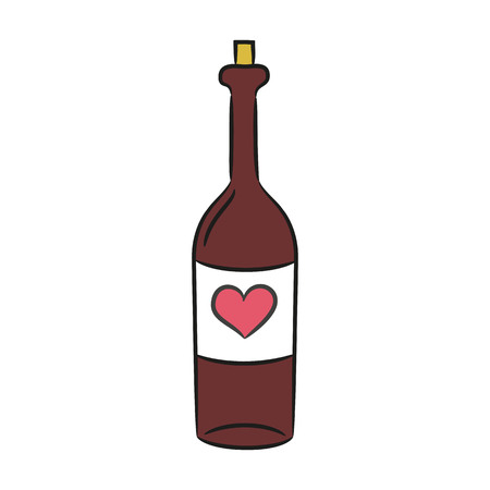 brandy: Cartoon wine bottle on the white background for your design. Vector illustration.