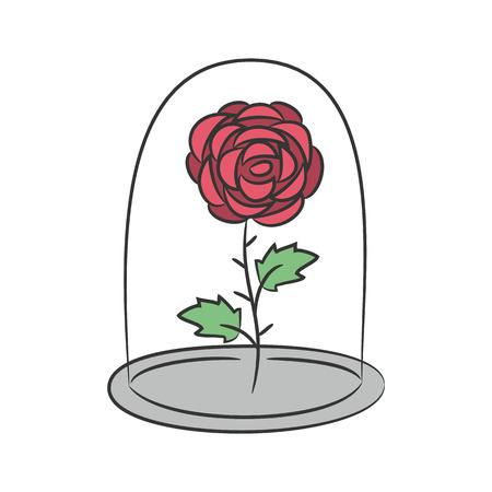 Rose en un frasco de vidrio. en el fondo blanco para su diseño. Ilustración del vector.