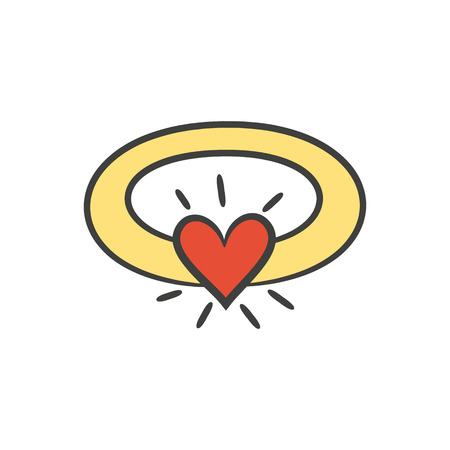 manos unidas: Ring with heart on the white background for your design. Vector illustration. Vectores