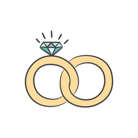 manos unidas: Wedding rings on the white background for your design. Vector illustration. Vectores