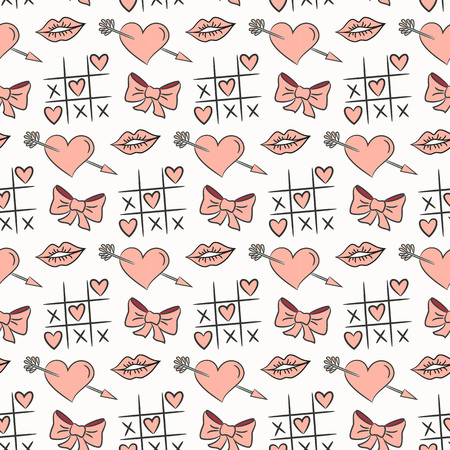 Seamless pattern with valentines icons on the white background for your design. Vector illustration. Ilustração