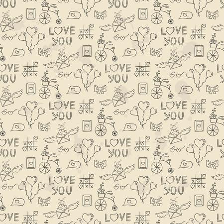 발렌타인의 아이콘과 원활한 패턴입니다. 벡터 일러스트 레이 션.