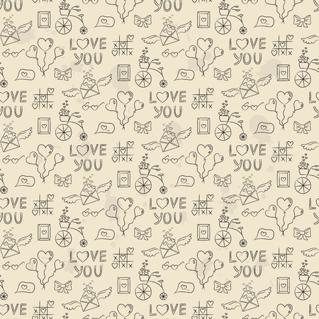 Seamless pattern with valentines icons. Vector illustration.