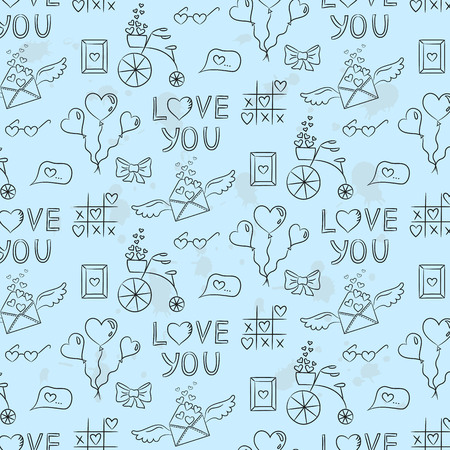 Seamless pattern with valentine's icons on the blue background for your design. Vector illustration.