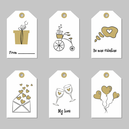 Set with Valentines Day tags. Vector illustration.