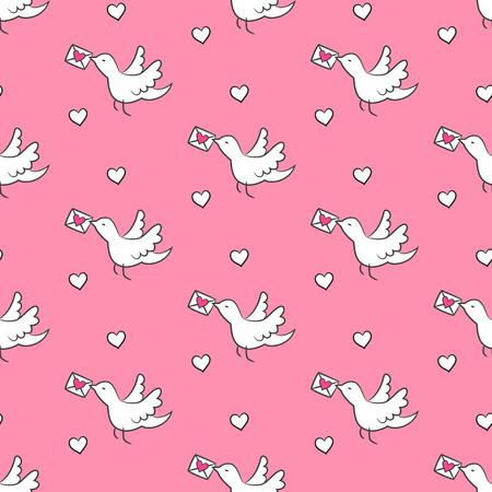 조류와 디자인을위한 분홍색 배경에 마음 원활한 패턴. 벡터 일러스트 레이 션. 일러스트