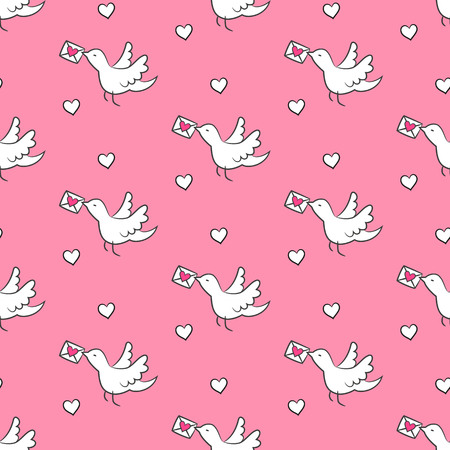 Seamless pattern with birds and hearts on the pink background for your design. Vector illustration.