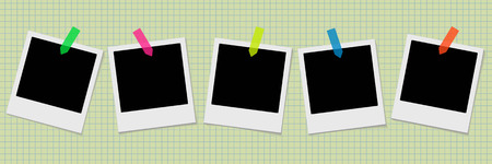old notebook: Set of retro photo frames with stickers on the old notebook background. Vector illustration. Illustration