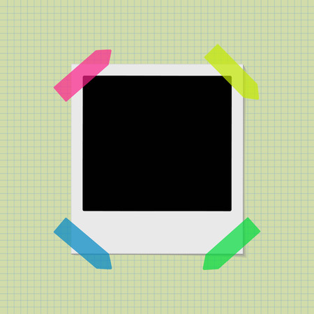 Retro photo frame on the old notebook background. Vector illustration.