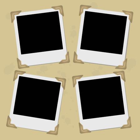 Set of retro photo frames with photo corners. Vector illustration.