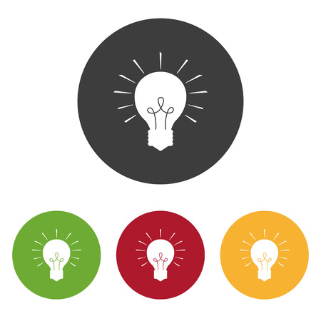 Set of light bulb icons on the white background. Vector illustration.