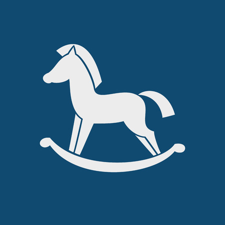 wooden horse: Horse toy icon on the blue background. Vector illustration.