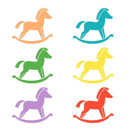 wooden horse: Set of horse toy icons on the white background. Vector illustration.