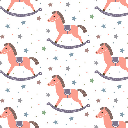 wooden horse: Seamless pattern with horses and stars on the white background.
