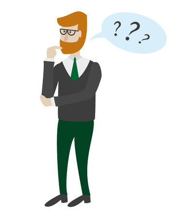 Man is thinking on the white background. Vector illustration.