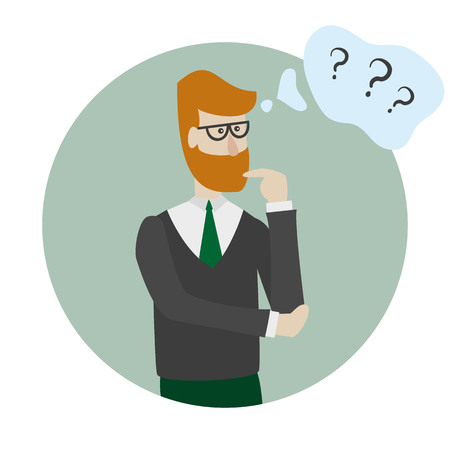 Man is thinking with bubble and question marks. Vector illustration.