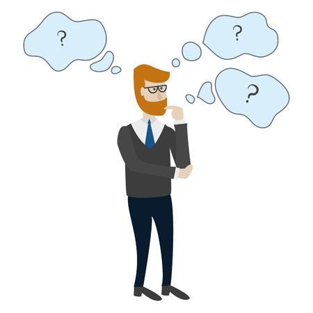 Man is thinking with bubbles and question marks. Vector illustration. Иллюстрация
