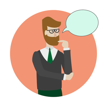Man is thinking with bubble. Vector illustration. Иллюстрация