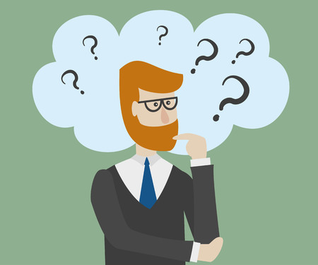 Man is thinking with bubble and question mark. Vector illustration.
