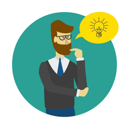 Idea concept icon with man, bubble and lightbulb. Vector illustration.
