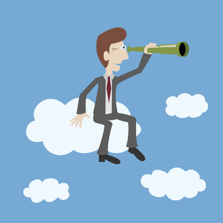 Businessman sits on the cloud and looks through a spyglass. Business vision concepts. Vector illustration. Ilustracja
