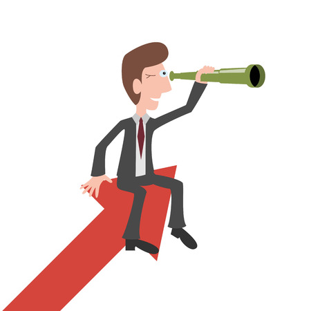 Zakenman zit op een rode pijlen en kijkt door een verrekijker. Business visie concepten. Vector illustratie. Stock Illustratie