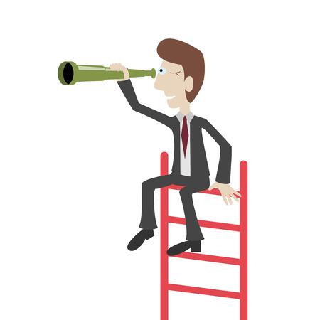 Zakenman zit op een ladder en kijkt door een kijker. Business visie concepten. Vector illustratie.