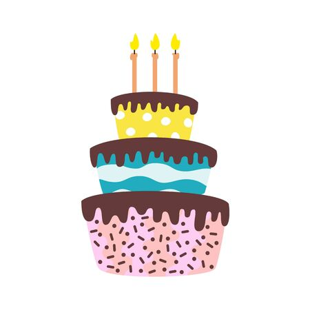 Big cake with candles on the white background. Vector illustration. Illustration