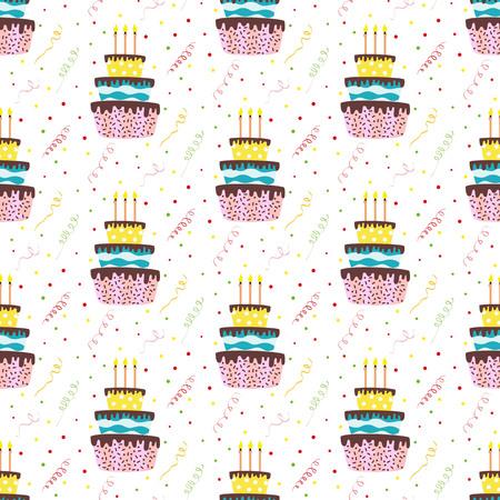 Nahtloses Muster mit Kuchen und Konfettis auf dem weißen Hintergrund. Vektor-Illustration. Standard-Bild - 78415592