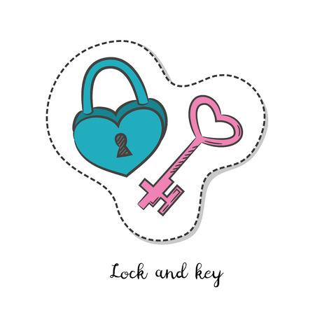 door lock love: Cartoon sticker with lock and key on white background. Vector illustration.