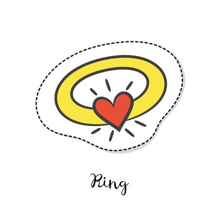 manos unidas: Cartoon sticker with ring on white background. Vector illustration.