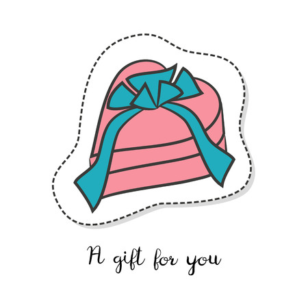 heart shaped: Cartoon sticker with gift box on white background. Vector illustration. Illustration