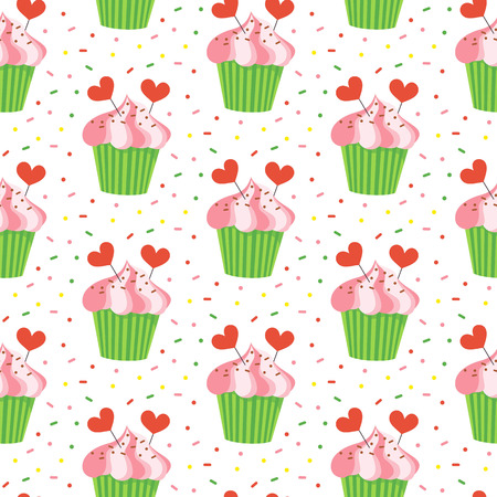 cupcake illustration: Seamless pattern with cupcakes on the white background. Vector illustration. Illustration