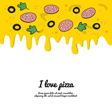 Dripping colorful pizza background. Vector illustration. Illustration