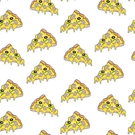 Pizza seamless pattern background. Vector illustration. Illustration