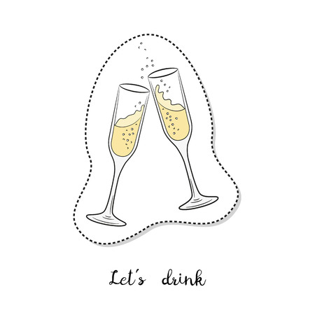 Cartoon sticker with glasses of champagne on white background. Vector illustration. Illustration