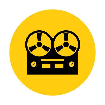volume knob: Old reel tape recorder icon. Vector illustration.