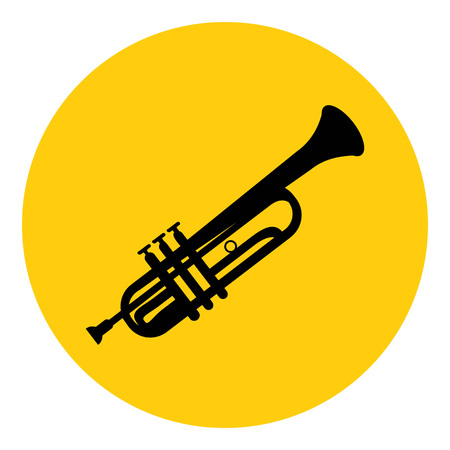 Trumpet icon, isolated on yellow background. Musical instrument icon. Vector illustration.