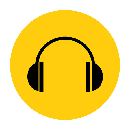 portable audio: Black headphone icon. Vector illustration.