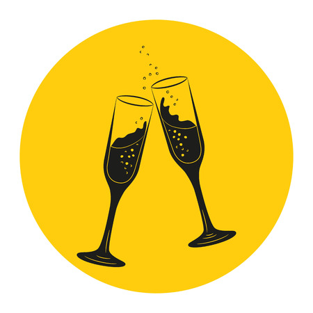 Icon with two glasses of champagne. Vector Illustration. Illustration