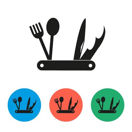 Jackknife icons on the white background. Vector illustration.