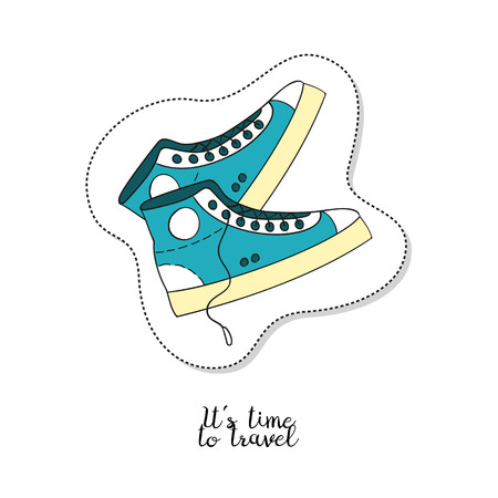 causal: Cartoon sticker with sneakers on white background. Vector illustration. Illustration