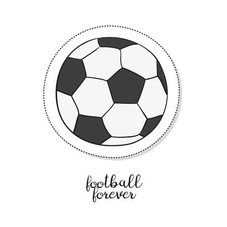 Cartoon sticker with soccer ball on white background. Vector illustration. Illustration